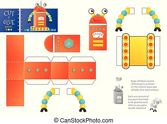 Cut and glue robot toy vector illustration, worksheet. Paper craft and small pieces riddle with funny robotic character for kindergarten kids. Cutting activity for children