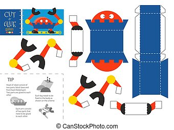 Cut and glue robot toy vector illustration, worksheet. Paper craft and small pieces riddle with robotic character for kindergarten kids. Cutting activity or hobby for children