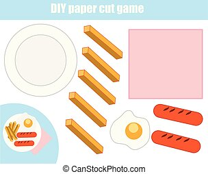 Cut and paste children educational game. Paper cutting activity. Make a food plate with glue and scissors. DIY worksheet