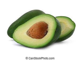 cut avocado #3 - close-up of cut avocado fruit isolated on...