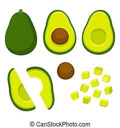 Cut avocado illustration set