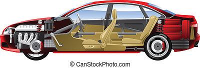 Cut-away car. - Cutaway Car Illustrations. (Simple gradients...