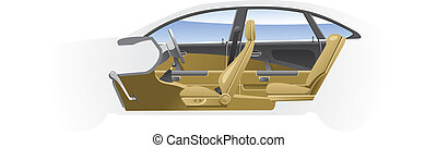 Cut-away car. - Cutaway Car Illustrations. (Simple gradients...