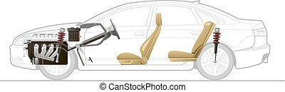 Cut-away car - Cutaway Car Illustrations. Simple gradients...