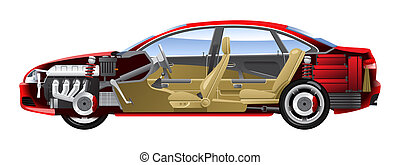 Cut-away  car.  - Cutaway Car Illustrations.