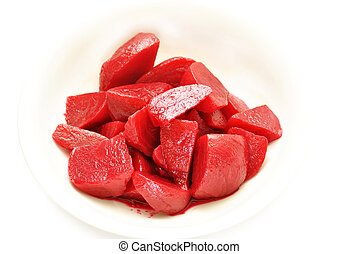 Cut Beets in a White Bowl