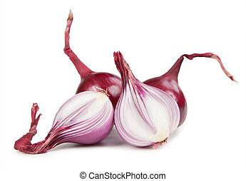Cut bulb onion isolated on white background