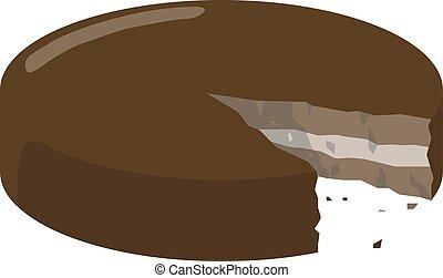 Cut cake, illustration, vector on white background.