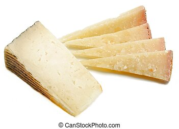 Cut cheeses of various types, one beside the other ...