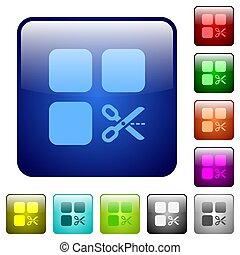 Cut component color square buttons