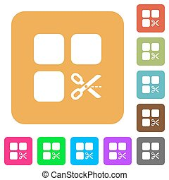 Cut component rounded square flat icons