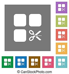 Cut component square flat icons