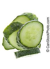 Cut cucumber in water macro