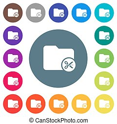 Cut directory flat white icons on round color backgrounds