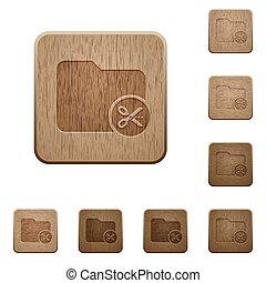 Cut directory wooden buttons