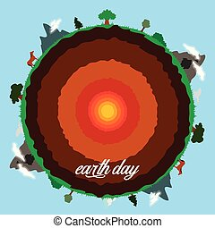 Cut Earth with its core and landscapes. Vector illustration design