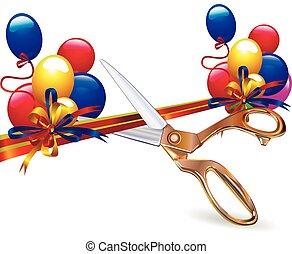 cut festive ribbon