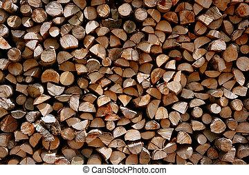 Cut firewood stack logs as pattern