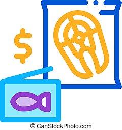 cut fish sale icon vector outline illustration - cut fish ...