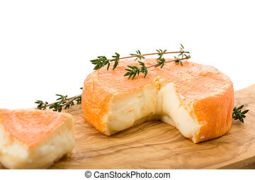 French soft cheese - Cut French soft cheese with herbs and ...