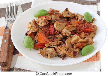 cut fried chicken with vegetables