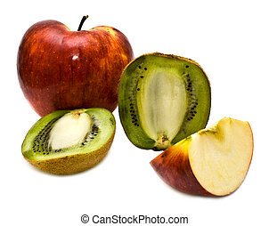 cut fruit on a white background