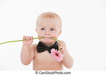 Cut funny baby boy holding flower in his mouth. Standing in...