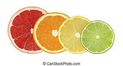 cut grapefruit, orange, lemon, lime
