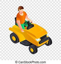 Cut grass machine icon, isometric style