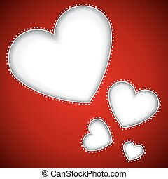 Cut heart shapes red vector background with copy space.