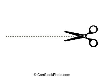 Cut Here Scissors. Vector illustration