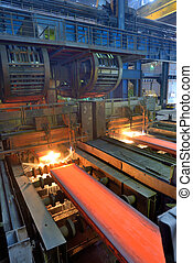 cut hot steel on conveyor