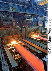 cut hot steel on conveyor