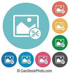 Cut image flat round icons