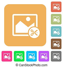 Cut image rounded square flat icons
