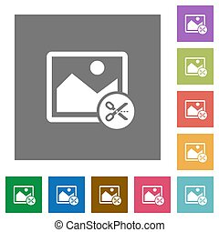 Cut image square flat icons