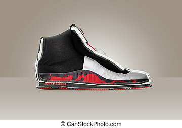 Cut in a half sneakers with all inner shoe structure visible