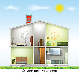 Cut in house interiors. Vector - House cut with interiors on...