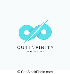 Cut Infinity Abstract Vector Sign, Emblem or Logo Template. Divided Eternity Symbol. Modern Creative Concept.