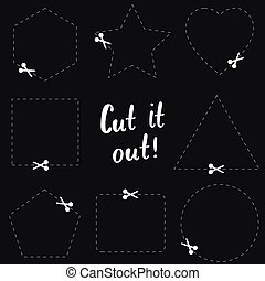 Cut it out flat template. The scissors icon. Cut here symbol. Scissors and dotted line. Flat Vector illustration.