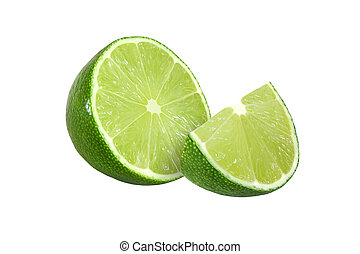 cut lime fruits isolated