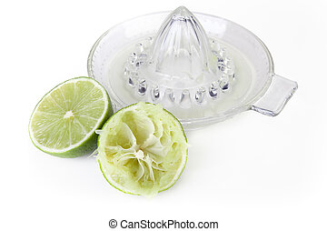 Cut Lime Glass Juicer.