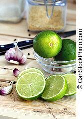cut lime on a light background citrus organic