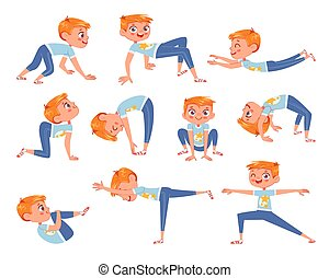 Cut little boy doing physical exercises. Funny cartoon character