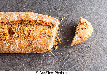 Cut loaf of bread