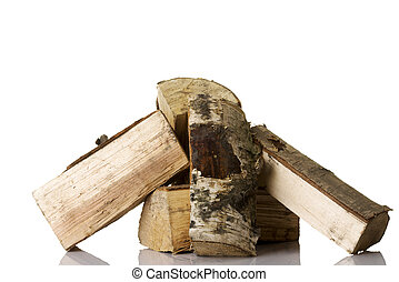 Cut log fire wood from birch-tree.
