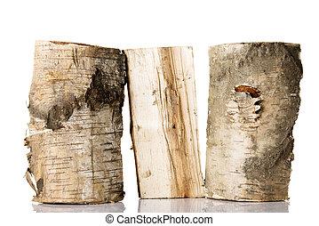 Cut log fire wood from birch-tree.