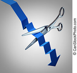 Cut losses financial concept to salvage an investment as scissors cutting a downward finance chart arrow as a business symbol for money management strategy.