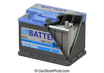 Cut of a car battery, 3D rendering