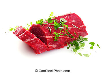 Cut of fresh uncooked fillet steak